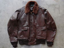 Vintage Willis & Geiger G-1 Leather Flight Jacket Size 44 Brown Coat USN
