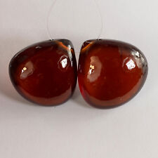 15.7mm Madagascar Hessonite Garnet Smooth Heart Briolette Bead PAIR