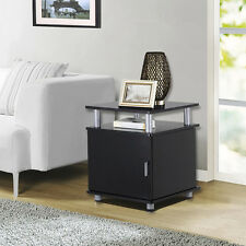 2 Tier End Tables With Storage Side Nightstand Espresso Furniture Modern US NEW