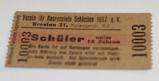 Ticket for collectors * VfR 1897 Breslau * Wroclaw Poland * about 1920-1934