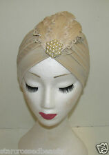 Desnuda Crema Feather Turbante Casco 1920 1930 Vintage Perla Diamante Flapper M35