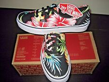 Vans Authentic Womens Hawaiian Floral Black Canvas shoes Size 9 VN000ZUKFFZ NWT
