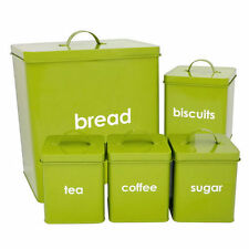 METAL 5PC PIECE BREAD BIN AND CANISTERS SET SUGAR COFFEE TEA ENAMEL EFFECT LIME