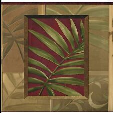 Dramatic Palm Leaves in Frames - Burgundy Sage Green - Wallpaper Border A009