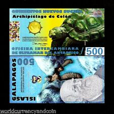 GALAPAGOS 500 SUCRES 12-02-2009 2nd TYPE TURTLE UNC POLYMER ECUADOR MONEY NOTE