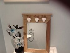 New Shabby Chic 3 Heart Wooden Portrait/bathroom/lounge Mirror