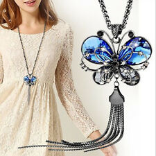 Newest Blue Crystal Jewelry Butterfly Necklace Long Chain Valentine's day Gifts