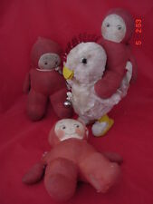 KRUEGER 3 ROSE O NEILL 8 IN CLOTH KEWPIES, W/CHICKEN TOY