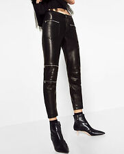 ZARA SIZE S / 36 38 SKINNY BIKER Lederhose Imitat FAUX LEATHER LEGGINGS TROUSERS