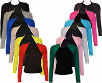 NEW WOMENS LADIES PLAIN LONG SLEEVE SHRUG BOLERO CARDIGAN TOP SIZE 8 10 12 14
