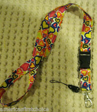 """Multi Color Hearts Design 15"""" lanyard-Hearts Lanyard ID Holder Mobile Devices"""