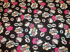 "HELLO KITTY CLOUD  TOSS  FABRIC 100% COTTON  - NEW - CUTE 1/2 YARD "" HTF"""