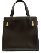 Gucci Hand Bag Dark Brown Leather