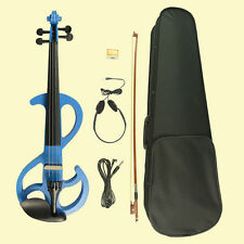 4/4 Electric Violin Full Size Silent Violin Bow Phone Instrument +Case Blue S