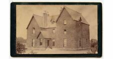 3 STORY STONE HOUSE W/ LADY AND DOG SITTING ON FRONT STEPS ANTIQUE CDV