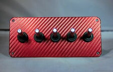 RED 3D WRAP CARBON FIBER PANEL w/ LED toggle switches - WHITE