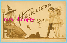 HALLOWEEN Bergman ~ A/S WALL ~ Witch & Black Cat with Children ~ HTF Postcard