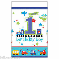 "54""x102"" All Aboard Blue Boy's 1st Birthday Party Disposable Plastic Table Cover"