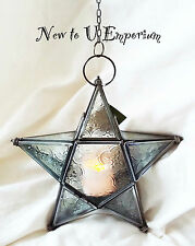 Moroccan style~Small hanging star glass lantern tealight holder with LED light