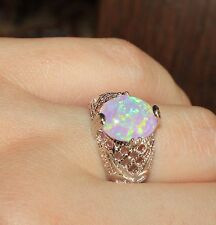 pink fire opal ring gems silver jewelry Sz 6.25 cocktail classic vintage style