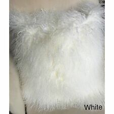 Mongolian fur pillow cover 20'' White Large-Real lamb fur pillow cover