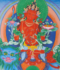 "17"" NATURAL MINERAL COLOR SILKPRINT TIBETAN THANGKA: RED MANJUSHRI RID BLUE LION"