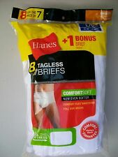 NEW Lot 8pr Hanes Mens Large L White Briefs in Package NIP