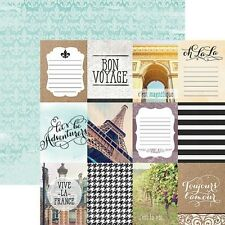 "CUSTOM SCRAPBOOK PAPER SET FRANCE PARIS FRENCH TRAVEL VACATION 12"" X 12"" KIT"