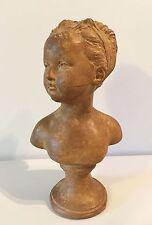 D'après Houdon, ancien buste de Louise Brongniart en terre cuite, signé