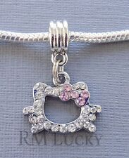 ONE Pendant Crystal Hello Kitty Fits European Charm Bracelet or Necklace C72