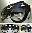 OVERSIZE CLASSIC VINTAGE RETRO AVIATOR Style PARTY SUNGLASSES Black & Gold Frame