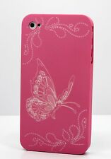 for iphone 4 4S embossed butterfly hard case black pink red brown white