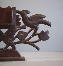 Vintage Primitive Art Nouveau Folk Framed Carved  Bird On Trees Photo Frame