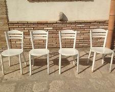 sedie in legno anni 80 in legno massello laccate bianche vintage modernariato