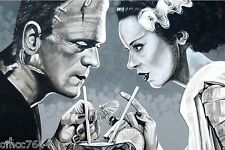 "Lowbrow Amorous Libation Bride & Frankenstein 12"" x 18""  Art Poster Print USA"