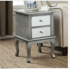 Mirrored End Table Silver Storage 2 Drawers Modern Bedroom Nightstand Accent
