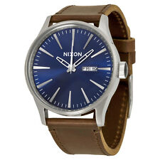 Nixon Sentry Blue Dial Brown Leather Mens Watch A1051524
