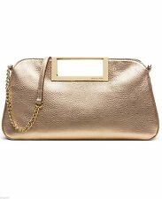 MICHAEL KORS LEDERTASCHE/Clutch/Handbag BERKLEY pale gold