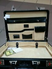 Genuine 100%Italian Leather Executive Black/Brown Attache Case / Briefcase .
