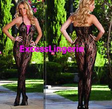 Sexy see thru lace catsuit open crotch bodystockings lace-up ribbon Dreamgirl