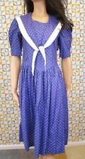 10 S - Vintage 80's Laura Ashley Dress Blue White Polka Dot Sailor Nautical L610