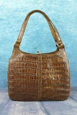 Vintage Brown Genuine Crocodile Alligator Skin 3 Compartment Handbag