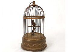 Automate oiseau chanteur siffleur cage laiton doré boîte musique XIXème