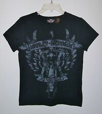 WOMENS HARLEY DAVIDSON MOTORCYCLES T-SHIRT BLACK GRAPHIC TEE SHIRT SIZE SMALL