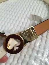 NWT $68 KATE SPADE REVERSIBLE GOLD/ BROWN LEATHER Skinny BELT SZ L
