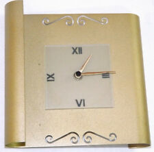 Retro Mantle Table Wall Clock Golden Metal Scroll Glass Face & Roman Numerals