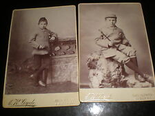 2 Old cabinet photographs boy walking stick by Gyde at Aberystwyth  c1890s
