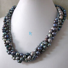 "20"" 4-10mm Gray Peacock 4Row Freshwater Pearl Necklace Strand Jewelry"