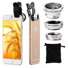 3in1 Camera Lens Clip Macro Wide Angel Fisheye For iPhone 4 5 6s Plus Smartphone