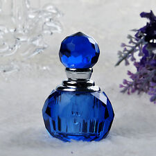 Vintage Blue Crystal Empty Refillable Perfume Bottle Stoppper Weddng Decor Gift